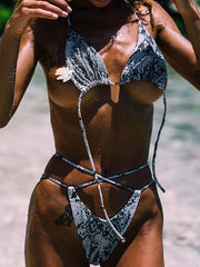 Lace Up Snakeskin Sexy Bikinis Swimwear