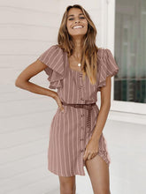 Square Collar Casual Stripped Mini Dress