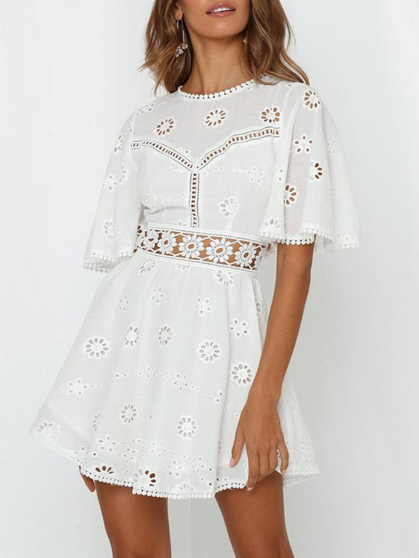 Embroidered Lace Hollow Split-joint Mini Dresses