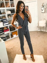 Stylish Striped V-neck Strapless Jumpsuit