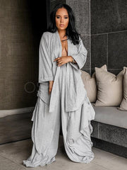 Loose Blouses and Wide Leg Pants Suits