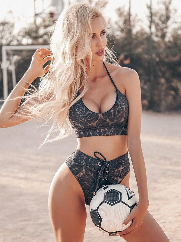 Lace-Up Printed Sexy Bikinis Swimwear