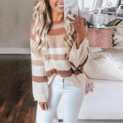 Casual Round Neck Contrast Striped Long Sleeve Sweater
