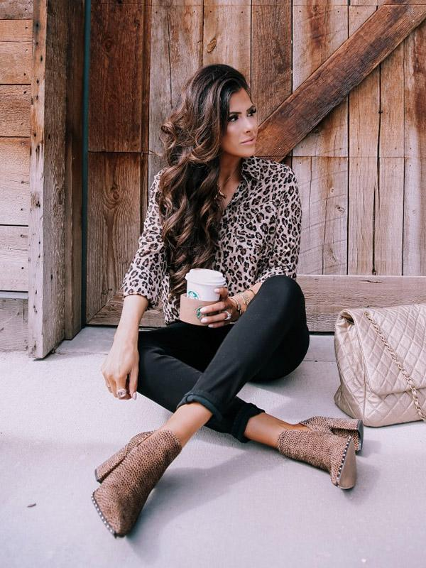 Leopard Printed Bohemia Blouse Top