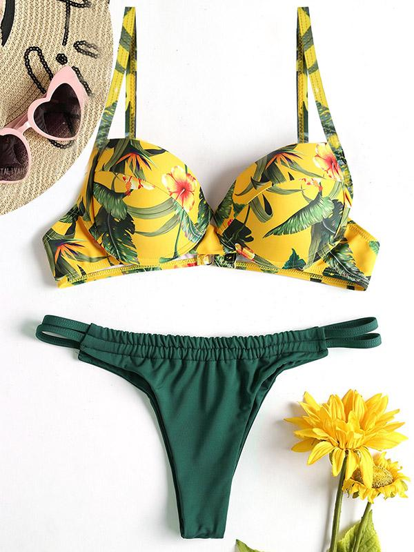 Flower Printed Top With Solid Panty Bikini Set