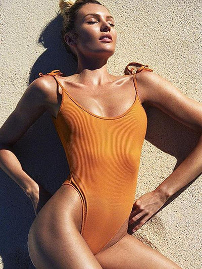 Plain Spaghetti-neck One-piece Swimsuit