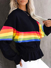 Casual color rainbow stripe pullover Sweatershirt