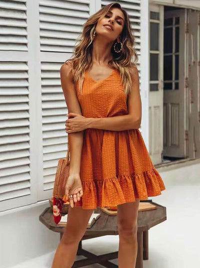 Ruffled Solid Bohemia Fresh Mini Dresses