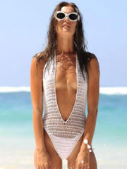 Bandage Halterneck Crochet One-Piece Swimsuit