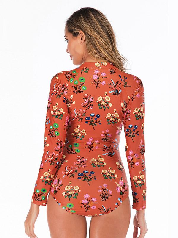 Floral Printed Zipper Collar Wetsuit
