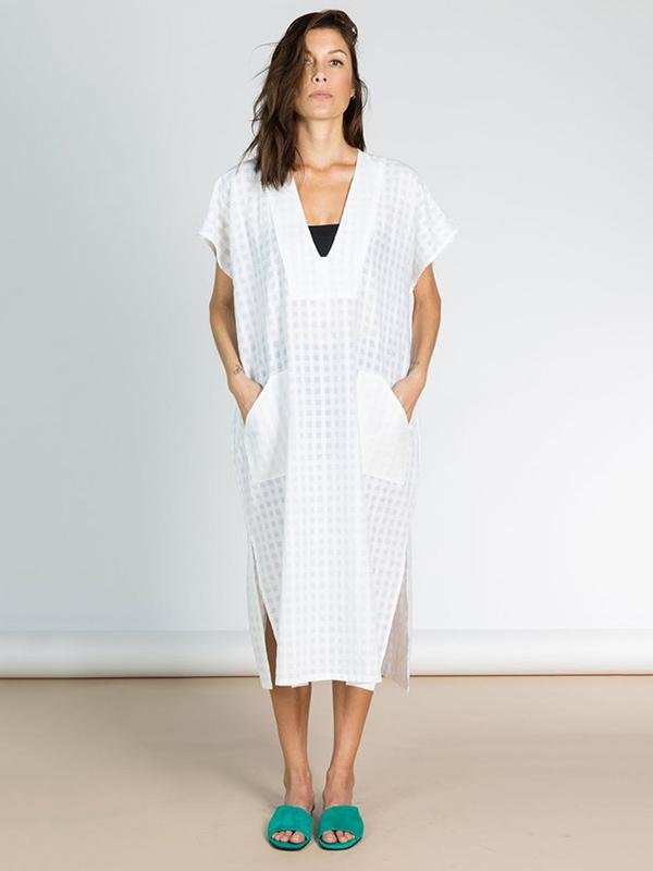 Loose Jacquard V-neck Cover-ups