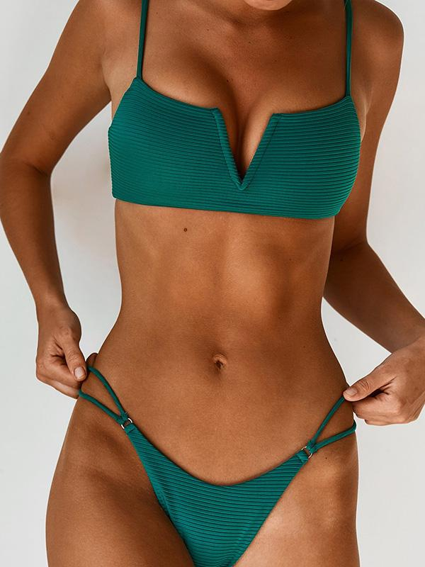 V Wired Textured Bikini Set
