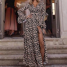 Leopard Print Flared Sleeves Wide Hem Maxi Dress