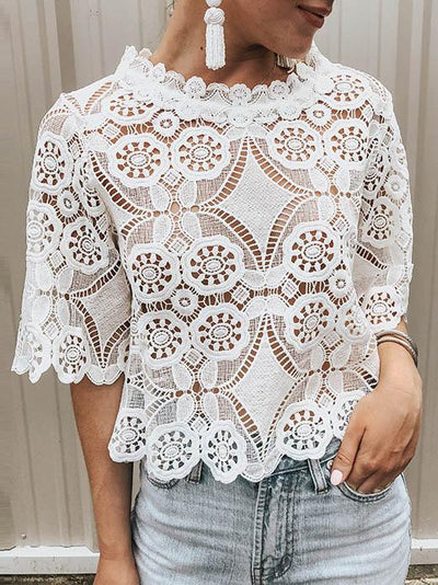 Solid Short Sleeves Hollow T-shirt Top