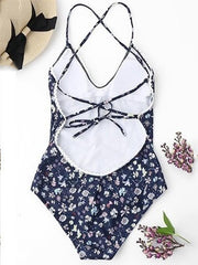 Backless Floral Sexy One-piece Swimwear