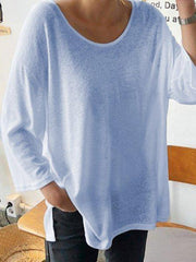 White Crew Neck Long Sleeve Cotton Plain Shirts & Tops