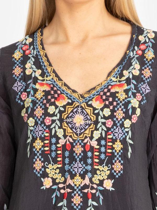 Exquisite Floral Embroidery Medium Sleeves Blouses