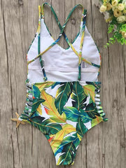 Digital Printed Backless One-piece Swimwear