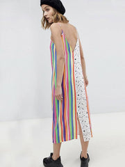 Striped Lace Spaghetti-neck Midi Dress