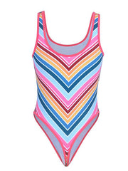 Striped Backless Wide Strap One-piece Swimsuit