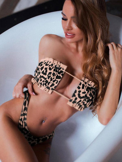 Leopard Smocked Lace-up Bikini Swimsuit