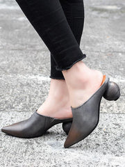 Pointed Special Heel Mules&Slides