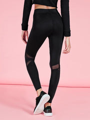 Mesh Panel Gym Hoodie And Leggings Suits