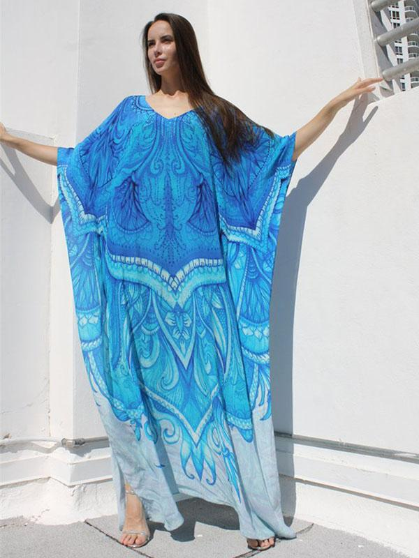 Blue-white Super Loose Printed Beach Cover-ups
