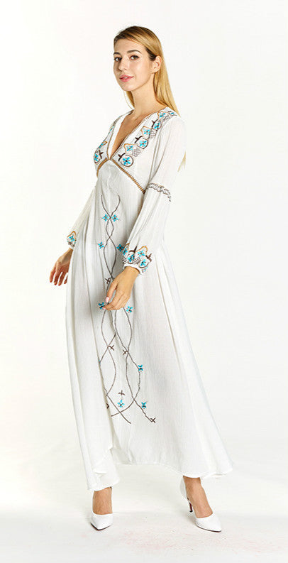 V-Neck Flare Sleeve Printed Embroidery Plus Size Bohemia Dresses
