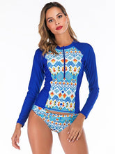 Tropical Printed Zipper Two Pieces Wetsuit