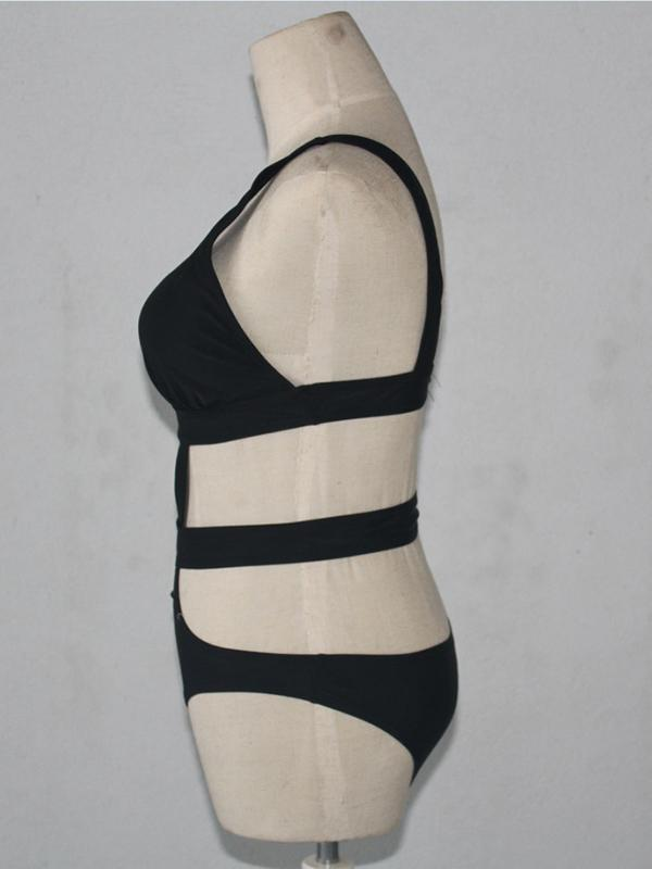 Black Bandage Sexy One-piece Swimwear