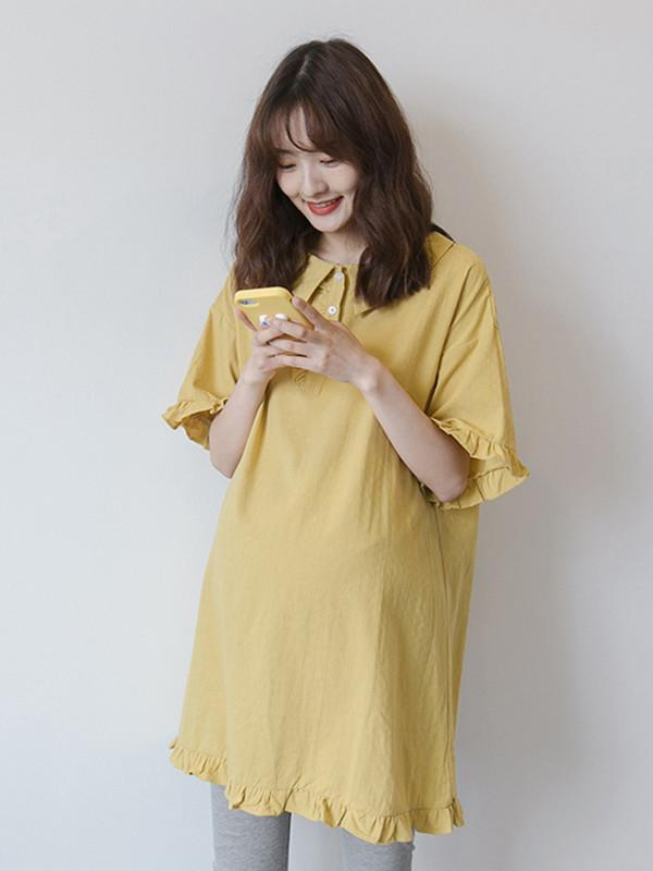 Maternity Solid Ruffled Short Sleeves Lapel Midi Dress