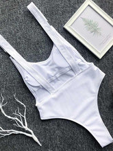 Ribbed Plain Wide Strap One-piece Swimsuit