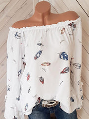 Long Sleeves Off-the-shoulder Flared Sleeves Feather Printed T-shirt
