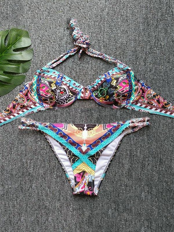 Printed Lace-up Bikini Swimsuit
