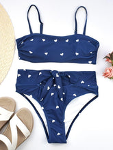 High Waisted Tie Bandeau Bikini Swimsuit