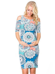 Maternity Printed Cold Shoulder Round-neck Mini Dress