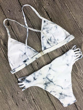 Printed Triangle Scrunch Bikini Set