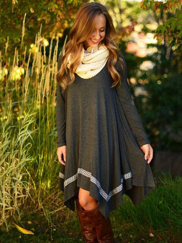 Long Sleeves Round-neck Midi Dress
