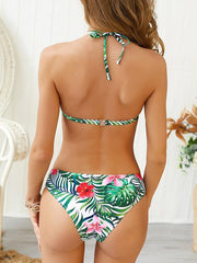 Lace Up Halter-neck Bikini Swimsuit
