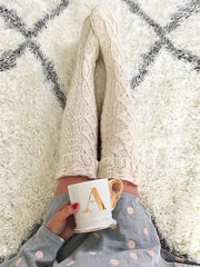 Knitting Over Knee-high Leg Warmer Stocking