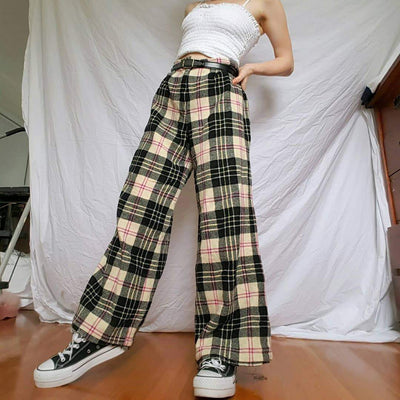 Casual Everyday Plaid Trousers