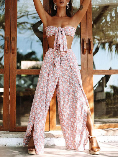 Printed Strapless Top&Belted Casual Pants