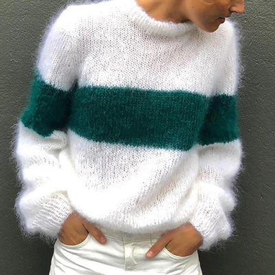 Fashion Round Neck Color Long Sleeve Sweater