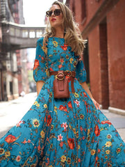 Round Neck Half Sleeves Bohemia Maxi Dress