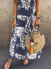 Printed Round-neck Short Sleeve Maxi Dress