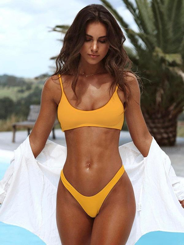 Solid Round-Neck Plunge Top With Hipster Bikini Set