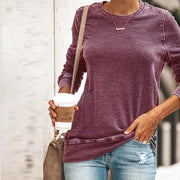 Casual Round Neck Long Sleeve Pure Color T-Shirt