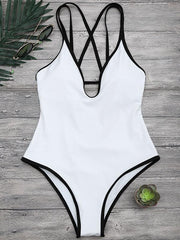 Fashion Solid Spaghetti Straps One-piece Swimwear