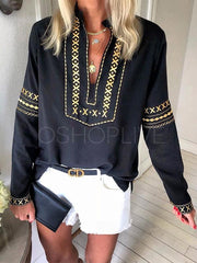 Loose Ethnic Style Printed Half-neck Blouse